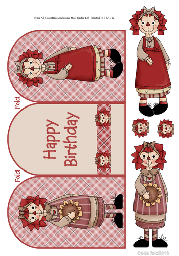 Tri Fold Cards - Rag Doll Birthday 3d Card Art RRP 75p