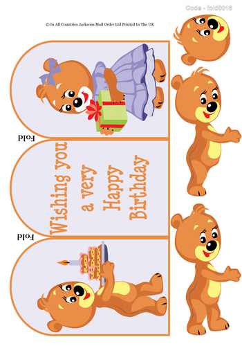 Tri Fold Card -  Birthday Teddy 3d Card Art RRP 75p