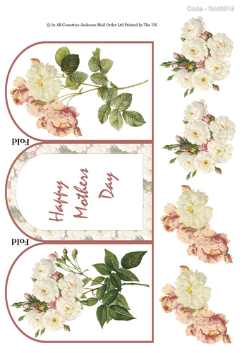 Tri Fold Card - Florals Mothers Day 3D Card Art RRP 75p