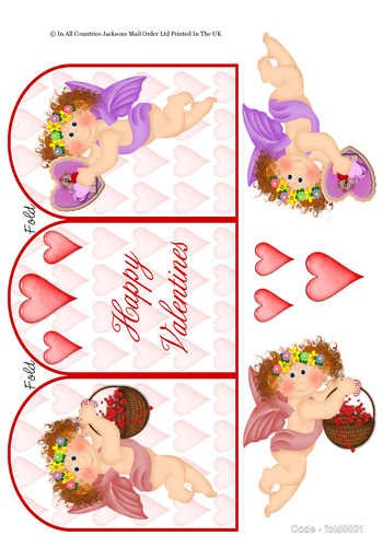 Tri Fold Card - Happy Valentine 3D Card Art RRP 75p