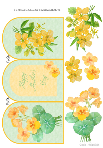 Tri Fold Card - Happy Mothers Day / Yellow Flowers 3D Card Art RRP 75p