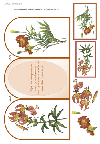 Tri Fold Card - Floral Birthday 1 3d Card Art RRP 75p