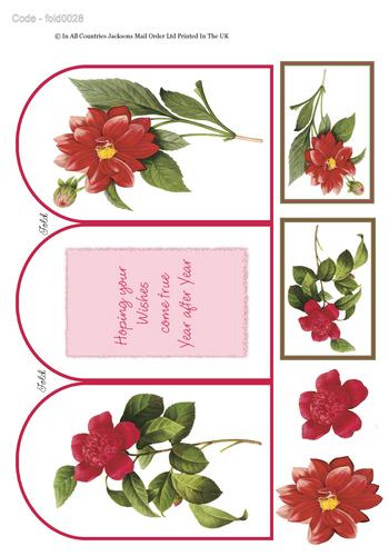 Tri Fold Card - Floral Birthday 3 3d Card Art RRP 75p