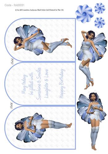 Tri Fold Card - Fairy Birthday 3 3d Card Art RRP 75p