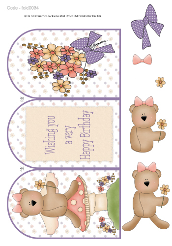 Tri Fold Card - Happy Birthday Bear 3d Card Art RRP 75p