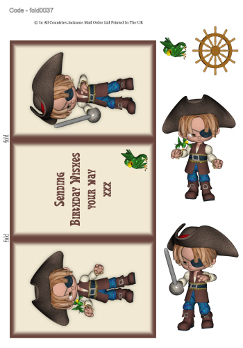 Tri Fold Card - Birthday Pirate 3d Card Art RRP 75p