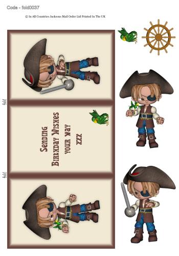 Tri Fold Card - Birthday Pirate 3d Card Art RRP 75p