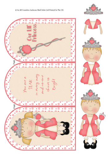 Tri Fold Card - Birthday Princess 3d Card Art RRP 75p