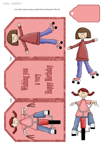 Tri Fold Card - Girl Birthday 3d Card Art RRP 75p