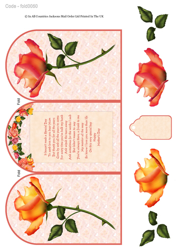 Tri Fold Card - Mother's Day Rose 3D Card Art RRP 75p
