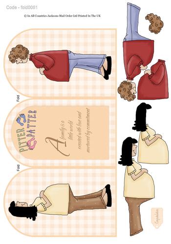 Tri Fold Card - Pitter Patter of Tiny Feet 3d Card Art RRP 75p