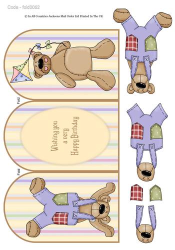 Tri Fold Card - Birthday Bear 3D Card Art RRP 75p