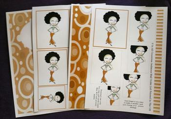 4 sheet Groovy Afro Lady kit - Inc Envelope    . -Jacksons mail Order