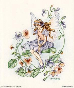 Purple Flower Fairies Print D - 5