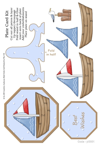 Birthday Plate Card - Sailing Boat 3D Card Art RRP 85p