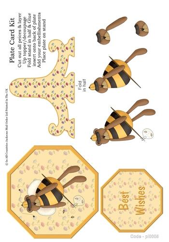 Birthday Plate Card - Birthday Bee 3D Card Art RRP 85p