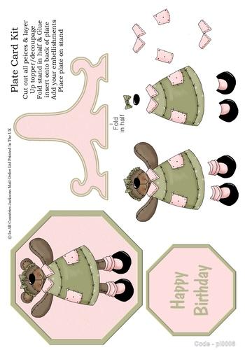 Birthday Plate Card - Teddy  Girl 3D Card Art RRP 85p