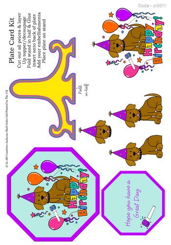 Birthday Plate Card - Happy Birthday 3D Card Art RRP 85p