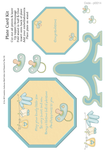 Birthday Plate Card - Baby Boy 3d Card Art RRP 85p