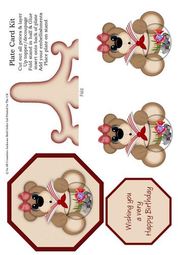 Plate Card - Teddy Bear Birthday 3d Card Art RRP 85p