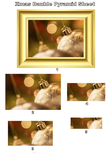 Pyramid Sheet - Golden Bauble 3d Card Art Photo Pyramid