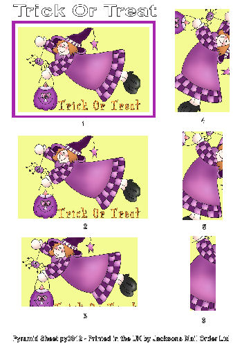 Pyramid Sheet - Trick or Treat 3d Card Art RRP 75p