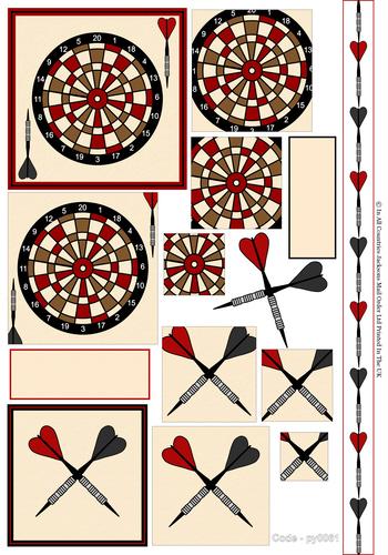 Multi Pyramid Sheet - Darts 3D Card Art RRP 75p