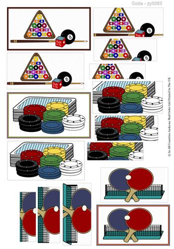Multi Pyramid Sheet - Pool, Poker and Ping Pong 3d Card Art RRP 75p