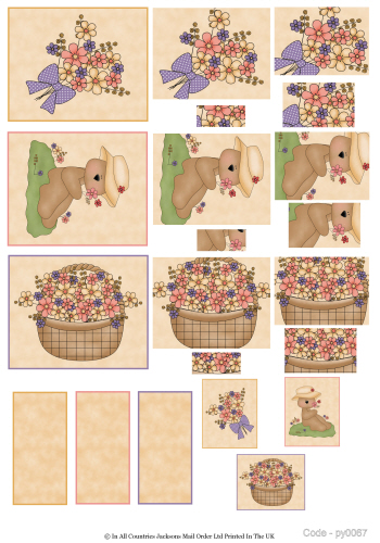 Multi Pyramid Sheet - Teds and Flowers 3D Card Art RRP 75p