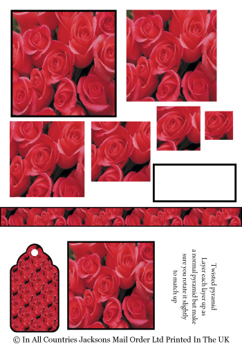 Twisted Pyramid - Red Roses 3D Card Art RRP 75p