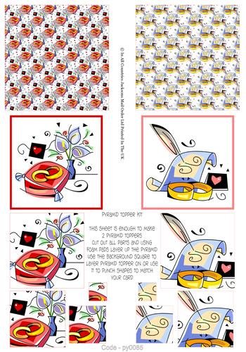 Multi Pyramid Sheet - Wedding 3D Card Art RRP 75p