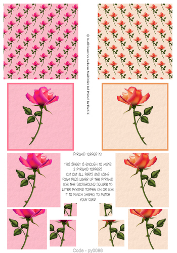 Multi Pyramid Sheet - Roses 3d Card Art RRP 75p