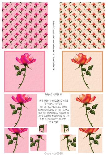 Multi Pyramid Sheet - Roses 3d Card Art RRP 75p