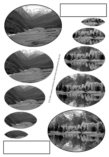 Multi Oval Pyramid Sheet - b/w Scenic Photos 3d Card Art RRP 75p