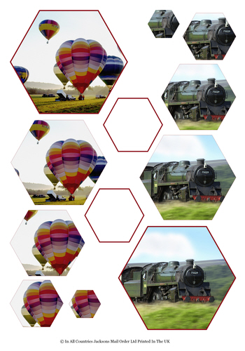 Multi Hexagon Pyramid Sheet - Balloon & Train 3d Card Art RRP 75p