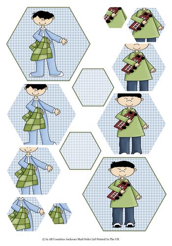 Multi Hexagon Pyramid Sheet - My Special Boy 3d Card Art RRP 75p