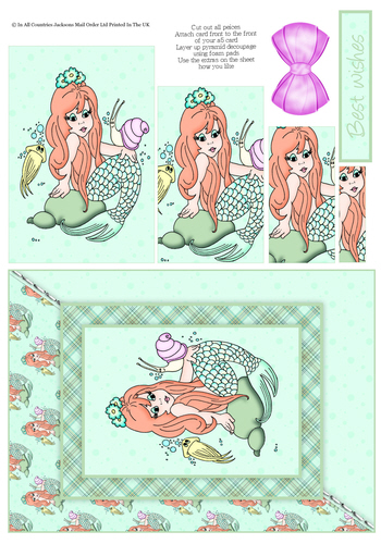 Card Front With Pyramid - Birthday Mermaid 3d Card Art RRP 75p