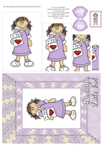 Card Front With Pyramid - Daddy's Little Girl 3d Card Art RRP 75p