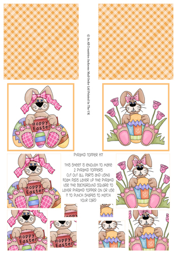 Multi Pyramid Sheet - Easter Bunnies 3D Card Art RRP 75p