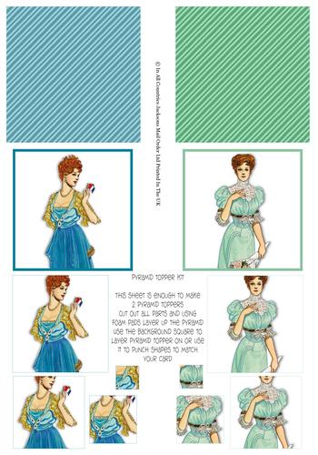 Multi Pyramid Sheet - Elegant Ladies 3d Card Art RRP 75p