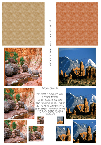 Multi Pyramid Sheet - Photo Landscapes 3d Card Art RRP 75p