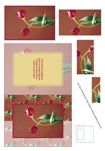 Card Front With Pyramid - Floral Photo Pic 2 3d Card Art RRP 75p