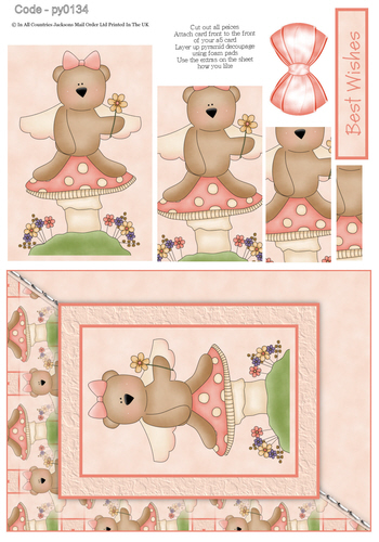 Card Front With Pyramid - Best Wishes Bear 1 3d Card Art RRP 75p