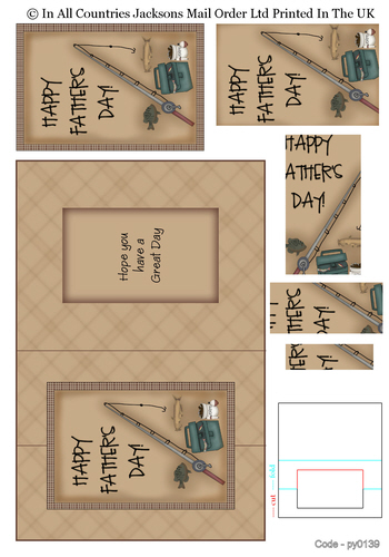 Pyramid Fold Cards - Happy Father's day Fishing 3d Card Art RRP 75p
