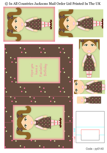 Pyramid Fold Cards - Birthday Girl 1 3d Card Art RRP 75p