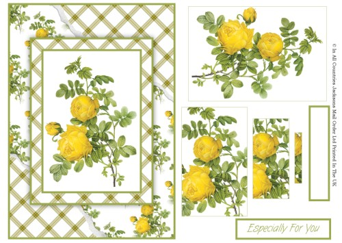 Card Front With Pyramid - Yellow Rose 3d Card Art RRP 75p