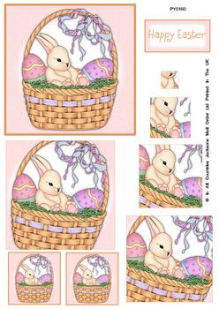 Happy Easter Pink Background Bunny Spiral Pyramid Sheet . FANTASTIC OFFER!!
