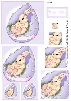 Happy Easter Lilac Background Bunny Spiral Pyramid Sheet W FANTASTIC OFFER!!