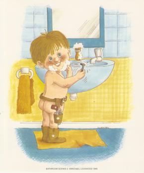 Bathroom Scenes No 3 - Little Boy Shaving - by Michael Lockwood - 5