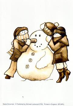 Sepia Snowman  - 4
